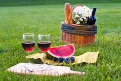 Red wine and picnic on the grass. Picnic on the grass with red wine Royalty Free Stock Images