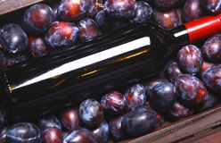 Red wine and plums Royalty Free Stock Image