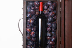 Red wine and plums Royalty Free Stock Photography
