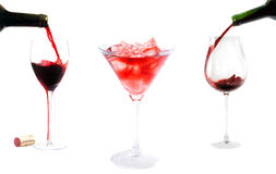 Red wine pouring Stock Images