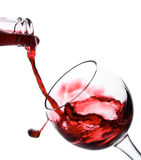 Red wine pouring down Stock Photos