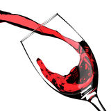 Red Wine Pouring Glass Splash Stock Photo