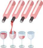 Red wine pouring into wine glass Stock Photography