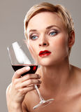 Red wine and red lips Royalty Free Stock Photo