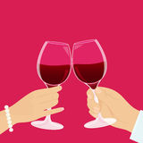 Red wine. Romantic couple has a date and drinking red wine Stock Photo