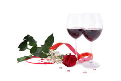 Red wine and rose Royalty Free Stock Image