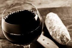 Red wine and salami stock photo