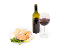 Red wine and salmon steak Royalty Free Stock Photo