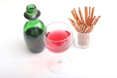 Red wine with salt sticks Royalty Free Stock Image