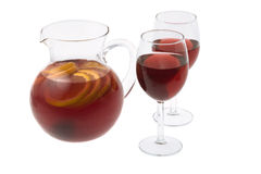 Red Wine Sangria. In pitcher with stemware on white background Stock Photography