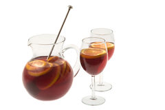 Red Wine Sangria. In pitcher with stemware on white background Royalty Free Stock Photos