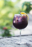 Red wine sangria cocktail outside Stock Image