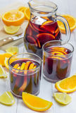 Red wine sangria with oranges and lemons Stock Photo