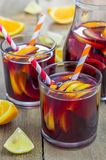 Red wine sangria with oranges and lemons Stock Photography
