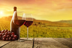 Red wine served on wooden planks, vineyard on background Stock Photo