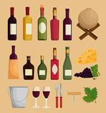 Red wine set icons. Vector illustration design royalty free illustration
