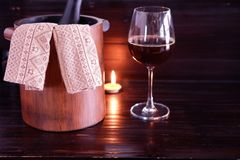Red wine on wooden background stock images