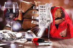Red wine and shoes Royalty Free Stock Photo