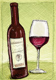 Red Wine Sketch Stock Photo