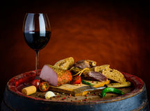 Red wine and smoked meat Stock Images