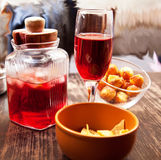 Red wine and snack Stock Photography