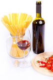 Red wine and spaghetti Stock Photography