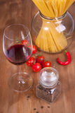 Red wine and spaghetti Stock Photo