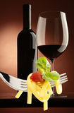 Red wine and spaghetti Stock Images