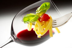 Red wine and spaghetti Royalty Free Stock Photo