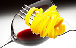 Red wine and spaghetti Royalty Free Stock Images