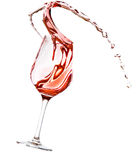 Red wine spilling. All over the place, isolated on white background Stock Image