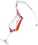 Red wine spilling. All over the place, isolated on white background Stock Images