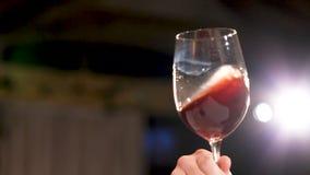 Red wine splash in glass.  stock video