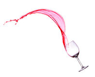 Red wine splash  over white background. Stock Photography
