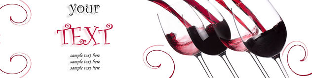 Red wine splashing background with sample text. On a white royalty free stock photography