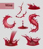 Red Wine Spray Collection. Wine splash realistic set of isolated sprays of liquid red wine with drops on transparent background vector illustration vector illustration