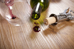 Red wine stain on wooden flooring Royalty Free Stock Photo