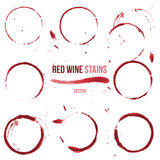 Red wine stains on white background Stock Photography