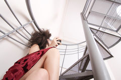Red wine on the stairs Stock Photography