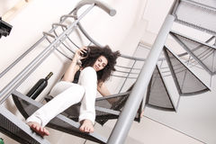 Red wine on the stairs Royalty Free Stock Images