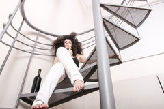 Red wine on the stairs Stock Images