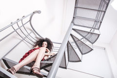 Red wine on the stairs Royalty Free Stock Photo