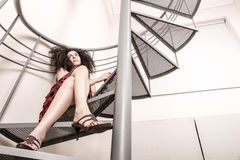 Red wine on the stairs Royalty Free Stock Photos