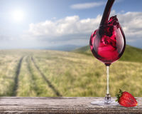 Red wine with summer scene background Royalty Free Stock Images