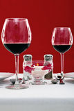 Red wine table setting Stock Photography
