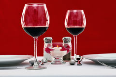 Red wine table setting horizontal Stock Images