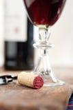 Red wine tasting. Red wine corking and tasting closeup macro Stock Image