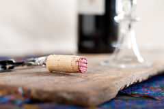 Red wine tasting. Red wine corking and tasting closeup macro Stock Photography