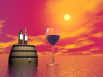 Red wine tasting - 3D render Royalty Free Stock Photos