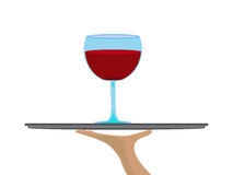 Red wine on tray. Vector clear glass of red wine offered on a tray Royalty Free Stock Image